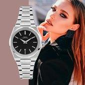 Linee essenziali e quadrante nero per un tocco glamour! #watch #watchesforher #watchaddict #glamour #black #orologio