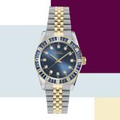 L' eleganza del bicolore oro e argento impreziosita da cristalli blu.  Capital New York Collection. #capitaltime #watchpassion #classicwatch #orologiodonna #watches